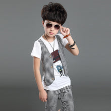 Load image into Gallery viewer, Kids Boys Summer New False Three Casual Summer Children Two Sets of Sportswear Short Sleeve T Shirt +pant - A&M Executive Services LLC