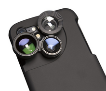 Load image into Gallery viewer, 4 in 1 Mobile Phone Lensese Cases Full Coverage For iPhone X 8 7 6S 6 Plus Wide Angle Macro Fisheye Phone Lenses Black Case - A&M Executive Services LLC