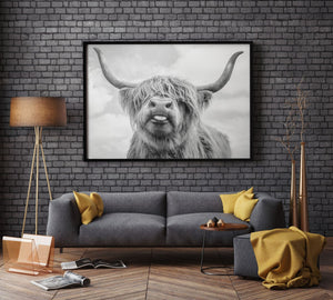 Black and White Highland Cow Cattle Wall Canvas Art - A&M Executive Services LLC