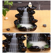 Load image into Gallery viewer, Behogar Ceramic Glaze Backflow Cone Incense Smoke Burner Censer Tower Holder for Home Decoration Relieving Stress Relaxing Mood - A&M Executive Services LLC