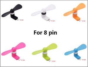 Mini USB Fan Flexible Cooling hand Fan portable Summer Cooler Cool for iphone ipad Android phone 2 in 1 Micro Type C 8 pin plug - A&M Executive Services LLC