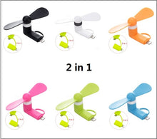 Load image into Gallery viewer, Mini USB Fan Flexible Cooling hand Fan portable Summer Cooler Cool for iphone ipad Android phone 2 in 1 Micro Type C 8 pin plug - A&M Executive Services LLC