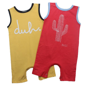 Baby Boys Romper Girls Summer Sleeveless Jumpsuit Cactus Letter Printing Infant Newborn Clothes Tiny Cottons Rompers - A&M Executive Services LLC