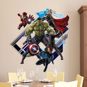 Super Hero Avengers Hulk Peel and Stick Wall Sticker Kids Room Stickers Cartoon Decals Home Decor Wallpaper Poster Y007 - A&M Executive Services LLC