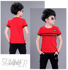 Casual Active Boys Clothes Set Summer Girls Teenage T Shirt Shorts Children Suit - A&M Executive Services LLC