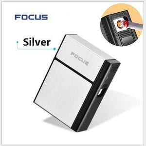 FOCUS Cigarette Case Box Lighter with Flameless Removable Electronic Lighter Windproof Torch Lighter 20pcs Cigarette Holder Case - A&M Executive Services LLC