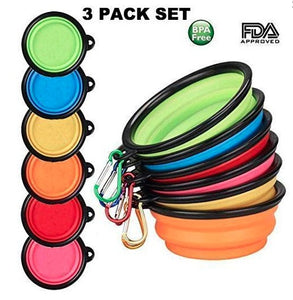 Collapsible Dog Bowls with Color Matched Carabiner Clips - A&M Executive Services LLC