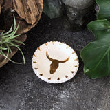 Gold Cow Skull Ceramic Ring or Altar dish