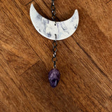 Marbled Porcelain Moon Chime with Amethyst
