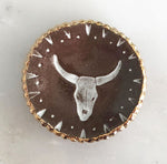 Cow Skull Ring Dish ceramic with gold detail