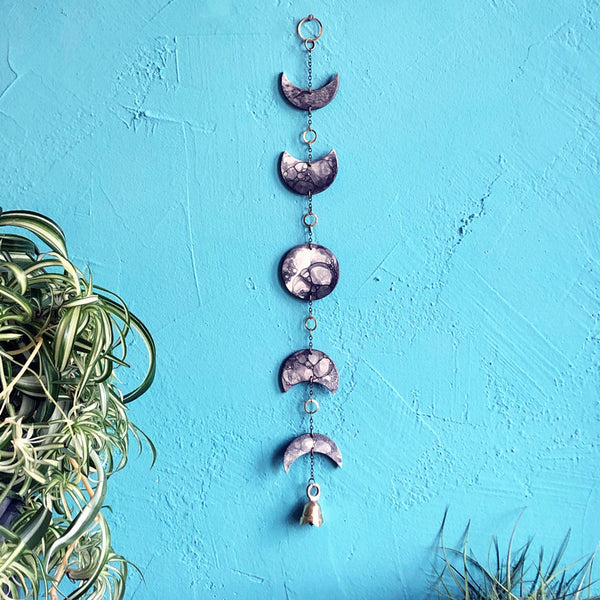 Eclipse Moon Phase Porcelain Wall Hanging and with Bubble Glaze and Brass Bell