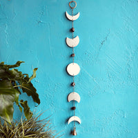 Eclipse Moon Phase Porcelain, Pyrite and Brass Bell Wall Hanging