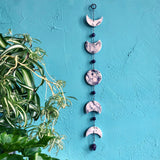 Moon Phase Eclipse Marbled Porcelain Wall Hanging with Amethyst Serenity Crystals