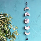 Moon Phase Marbled Porcelain Wall Hanging with Amethyst