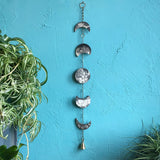 Moon Phase Porcelain Wall Hanging and with Bubble Glaze and Brass Bell