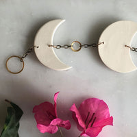 Moon Phase Porcelain and Brass Bell Wall Hanging
