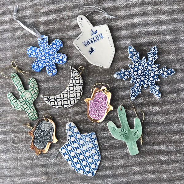 Assorted Handmade Porcelain Ornaments