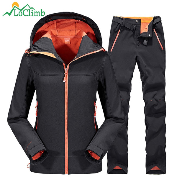 Waterproof Softshell Ski Jacket Men Women Winter Fleece