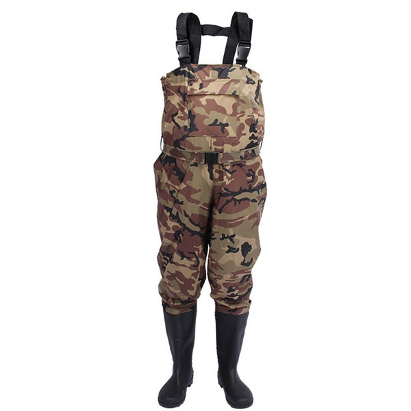 Men's Women Hunting Waterproof Bootfoot Fly Fishing Chest Rubber Waders Wading Boots Suit With Camouflage Pant