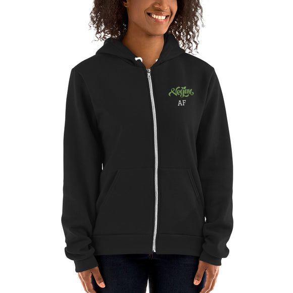 Unisex Embroidered Zip Hoodie Sweatshirt: Vegan AF