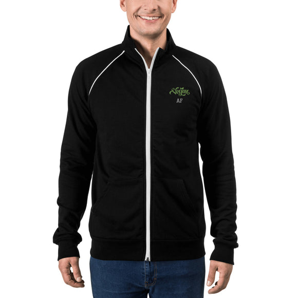 Unisex Embroidered Piped Fleece Jacket: Vegan AF