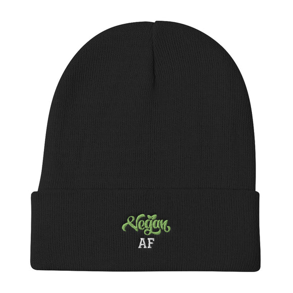 Embroidered Beanie: Vegan AF