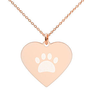 Engraved Silver Heart Necklace: Paw Print