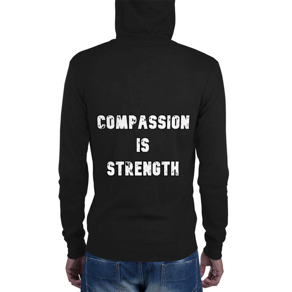 Unisex lightweight zip hoodie: Compassion is Strength