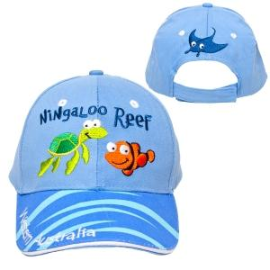 Hat Kids Brushed Cot Ningaloo Reef Light Blue