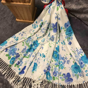 White Blue Scarf