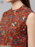 Red Floral Printed Kantha Work Crop Top & Palazzo Set