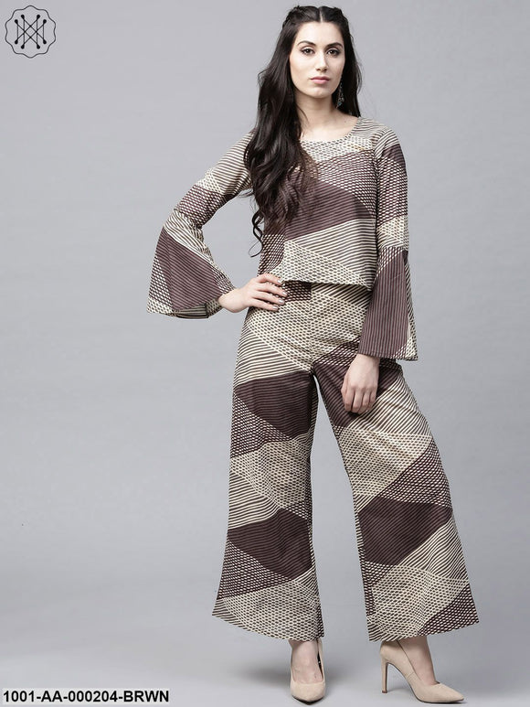 Brown & Beige Printed Top With Palazzo Set