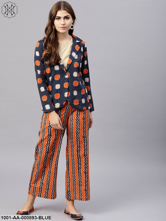 Blue & Orange Kantha Work Jacket & Palazzo Set