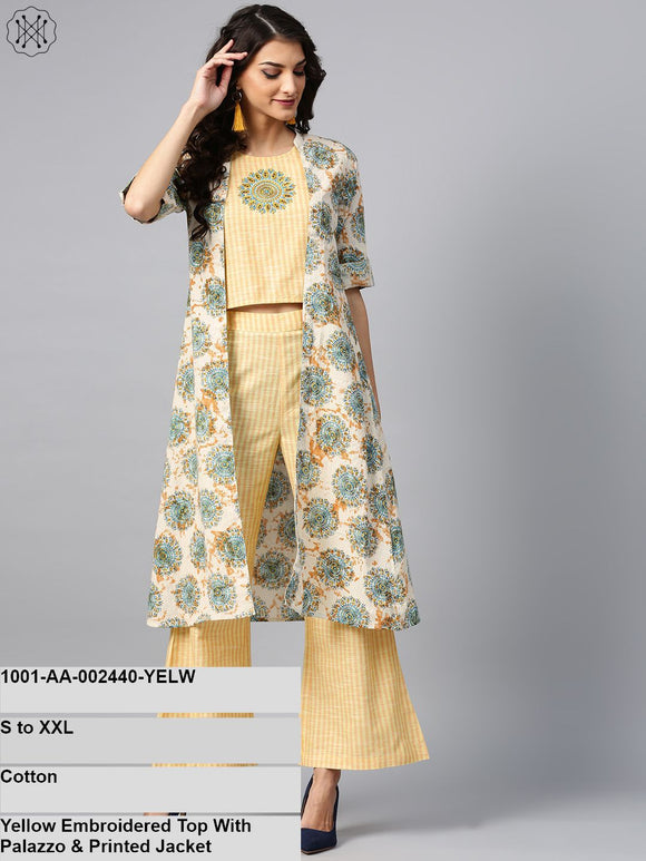 Yellow Embroidered Top With Palazzo & Printed Jacket