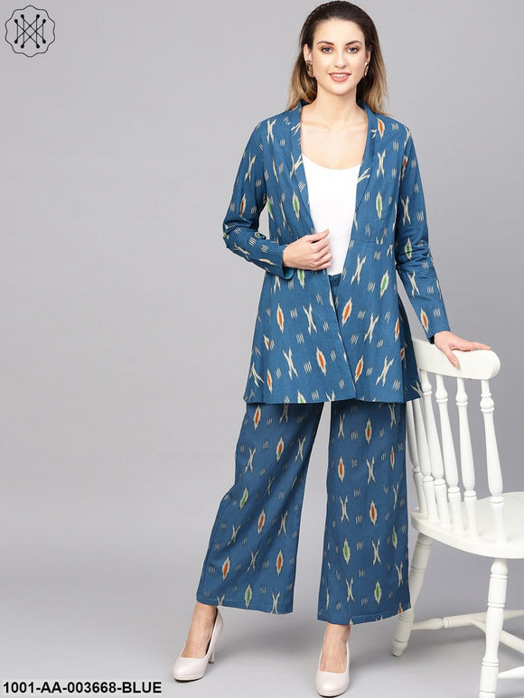 Blue Ikkat Printed Blazer With Palazzo
