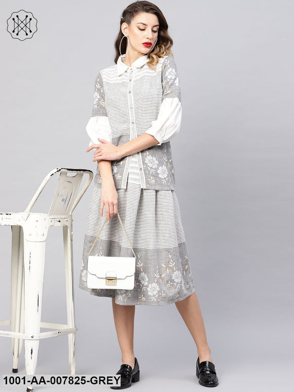 Grey White Shirt With Pleated Skirt