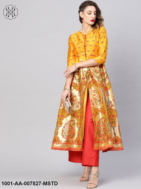 Mustard Gold Self Designed Long Jacket With Palazzo