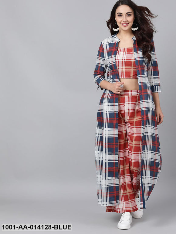 Checked Crop Top Palazzo Set With Jacket