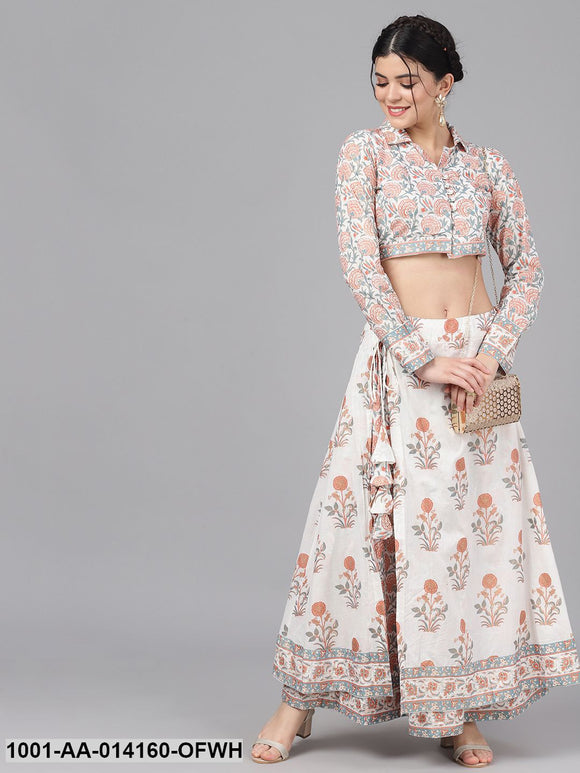Off-White & Peach-Coloured Khari Print Crop Top & Skirt