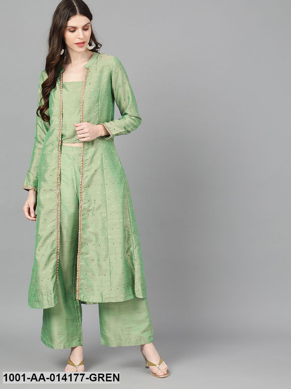 Green Dobby Design Jacket With Top & Palazzo Set