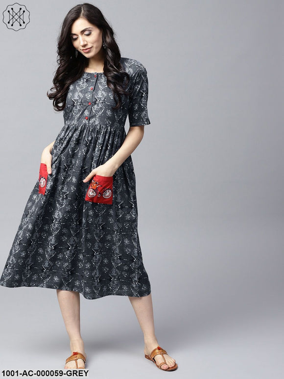 Grey & Black Printed A-Line Dress With Embroidered Pocket Details