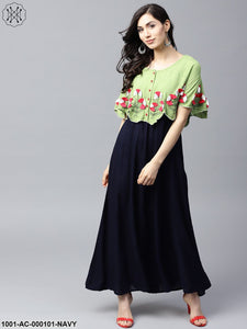 Navy Blue & Green Embroidered Yoke Cape Design Maxi