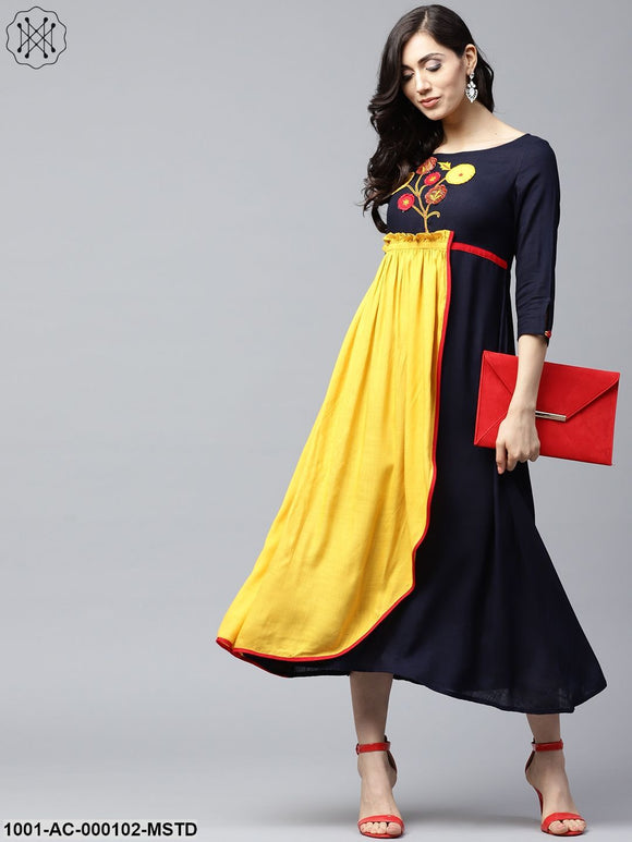 Mustard & Navy Blue Embroidered Layered A-Line Dress