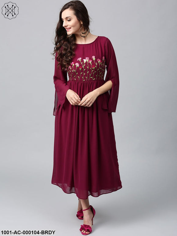Wine Coloured 3D Embroidered Georgette Maxi Dress