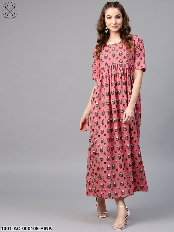 Pink & Green Floral Printed Pleated Maxi
