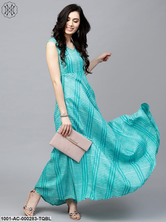 Turquoise Blue Printed Sleeveless Flared Maxi