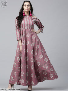 Pink Printed Drop Shoulder Flared Maxi