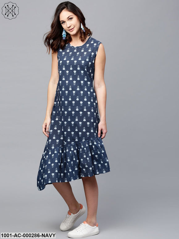 Navy Blue Printed Asymmetrical Dress With Flared Hemline