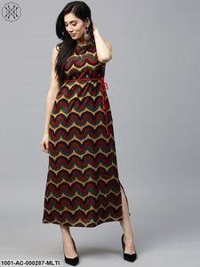 Multicolored Printed Sleeveless Maxi