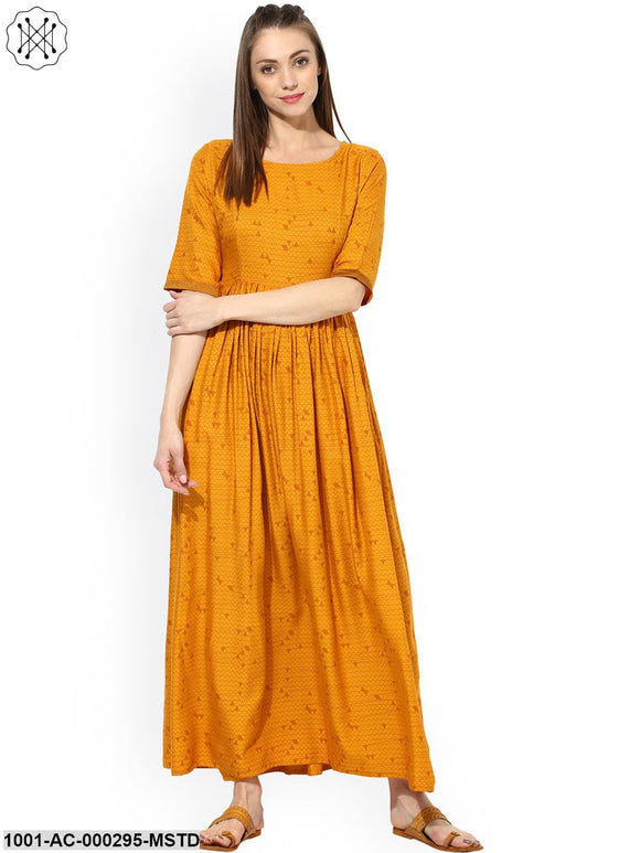 Mustard Printed Rayon Pleated Maxi
